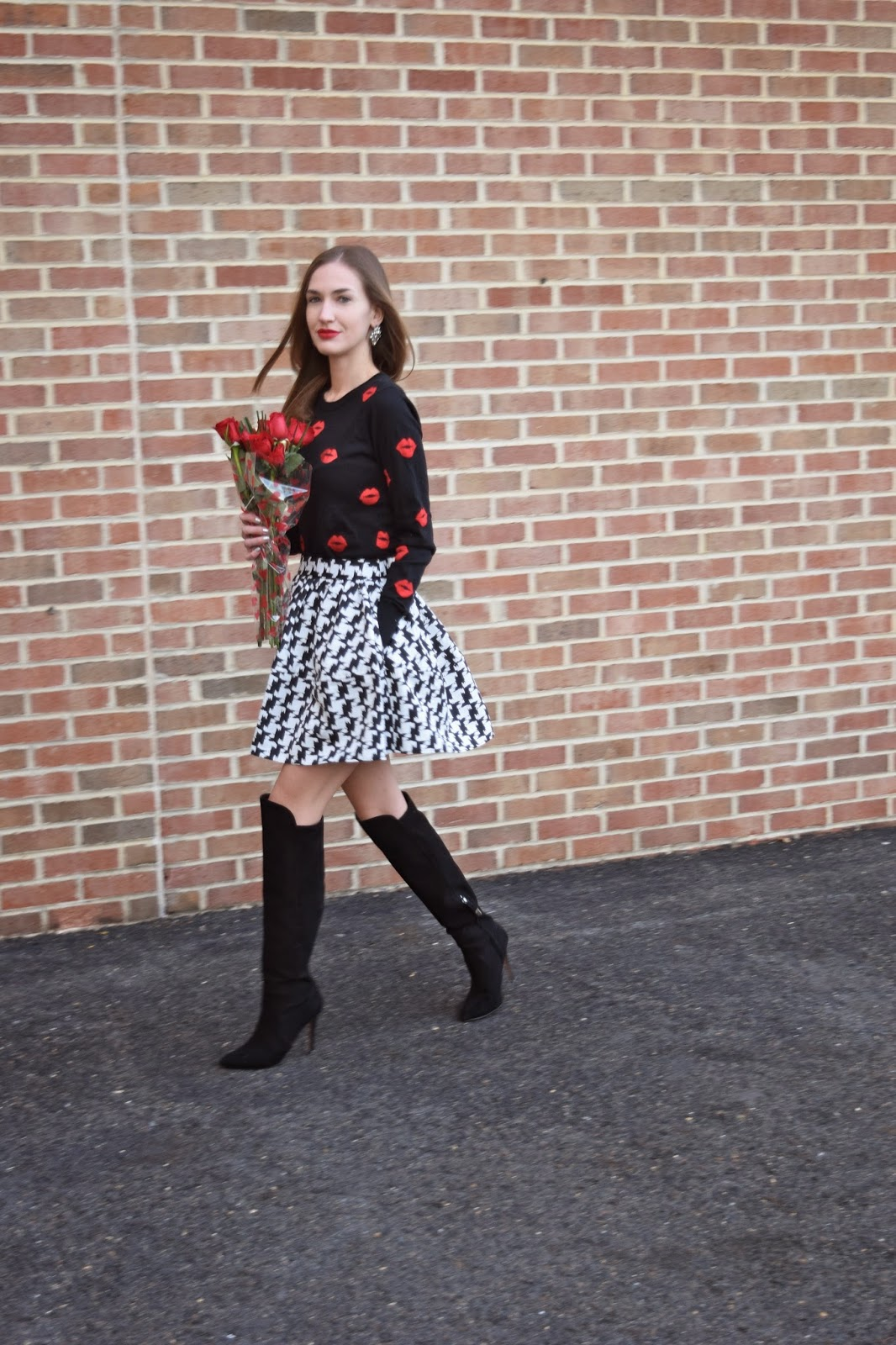French Connection Lips Sweater, Express Houndstooth Skater Skirt, Forever21 Over the Knee Boots, Valentines Day Look