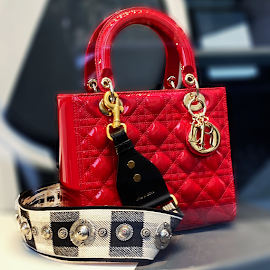Lady Dior Mini Calfskin red bag.