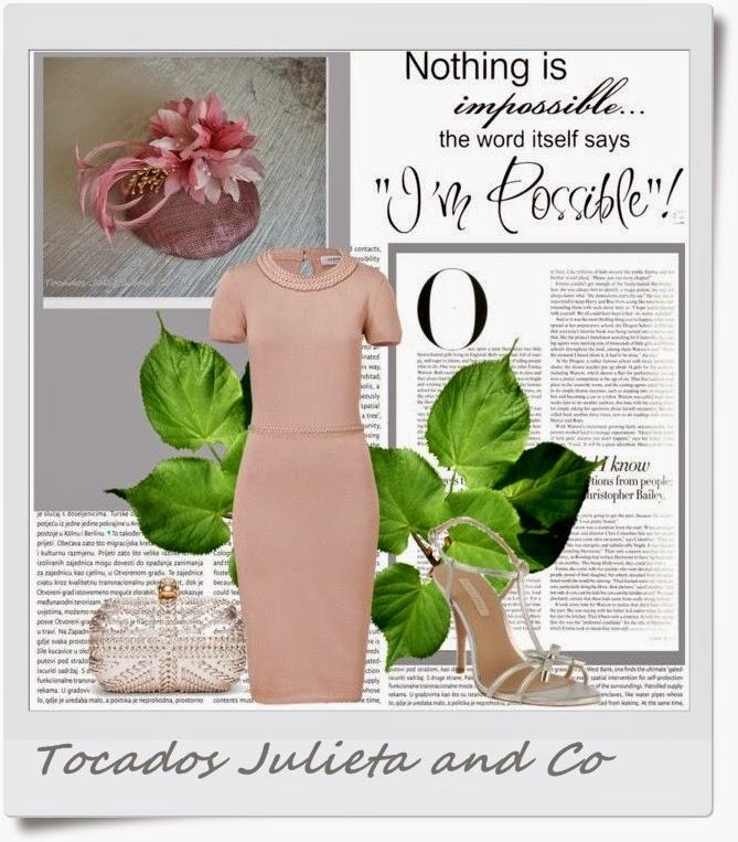 tocado para vestido rosa nude