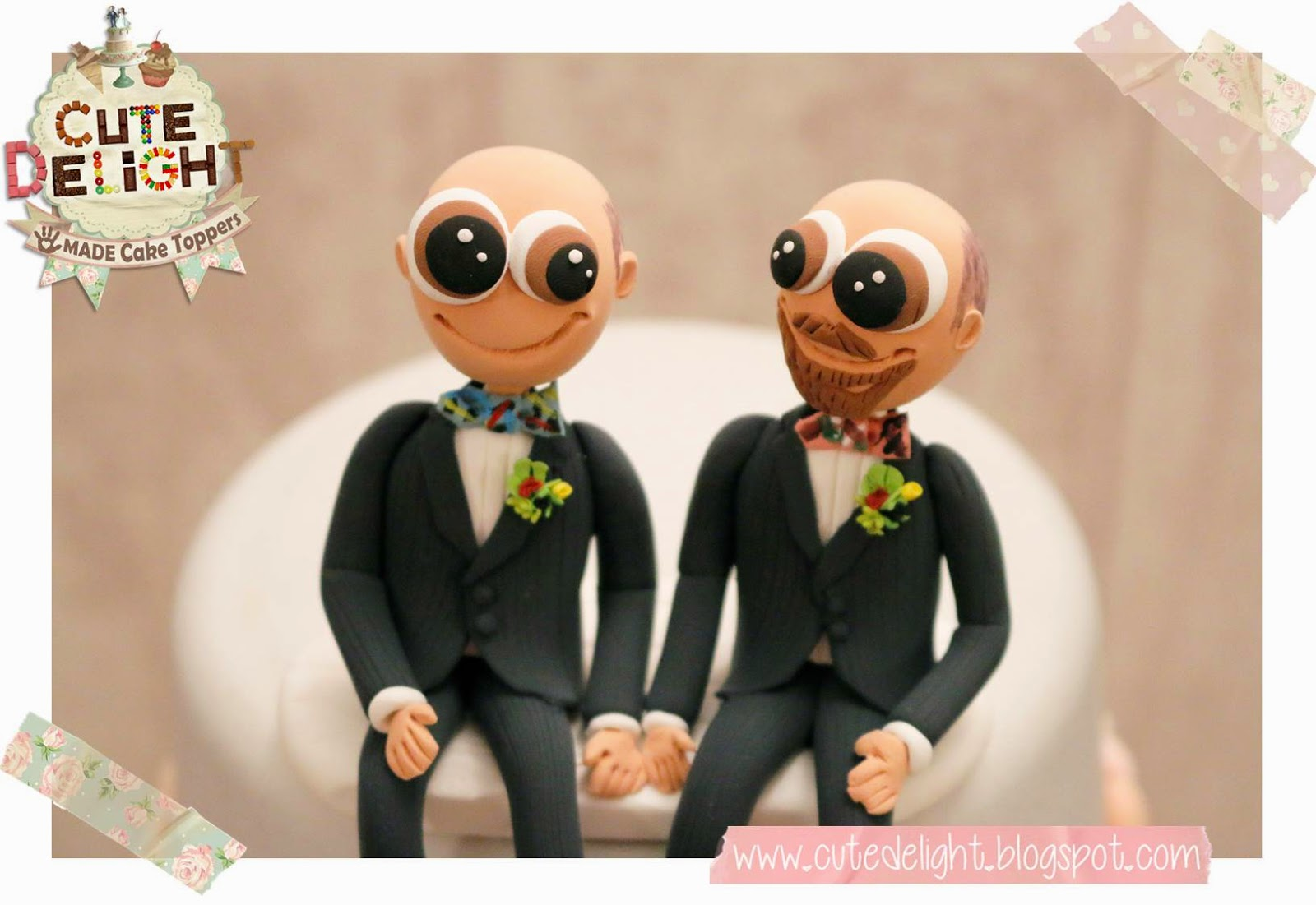 Gay Wedding Cake Topper   2 Grooms Sitting Down On Their Cake Topper    CARTOONISH STYLE