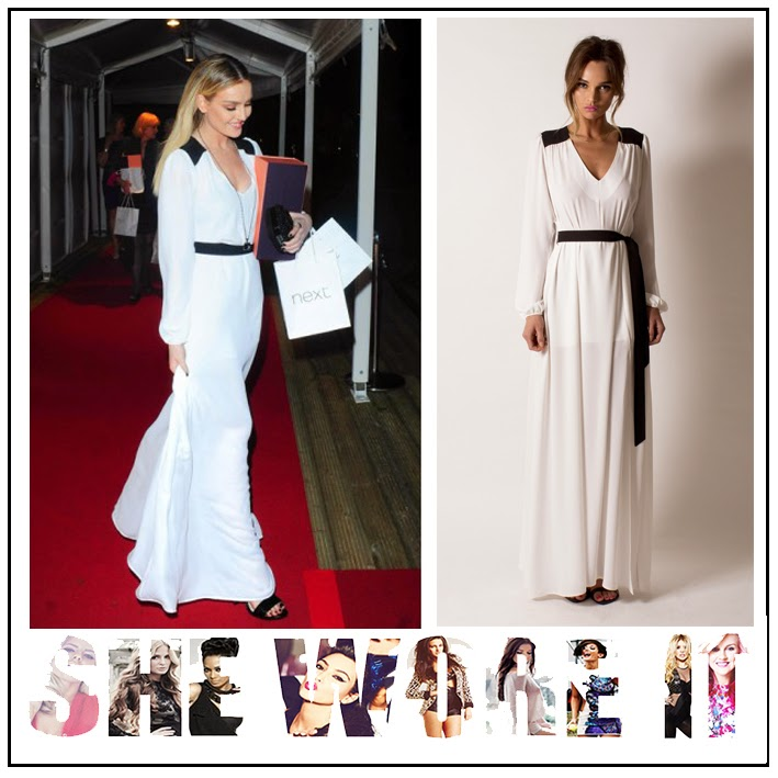 Black, Donna Izani, Dress, Glamour Awards 2014, Gown, Little Mix, Long Sleeve, Maxi Dress, Monochrome, Panels, Perrie Edwards, Sheer, Shoulder Detail, Tie Detail, V-Neck, White,