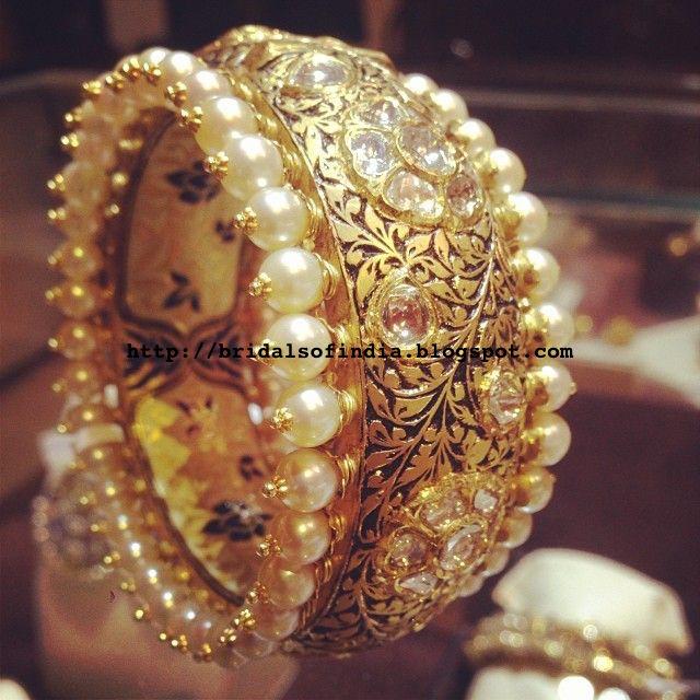 Bhima Jewellery Bands: Fashion World: Pearl And Gold Kada Bangle