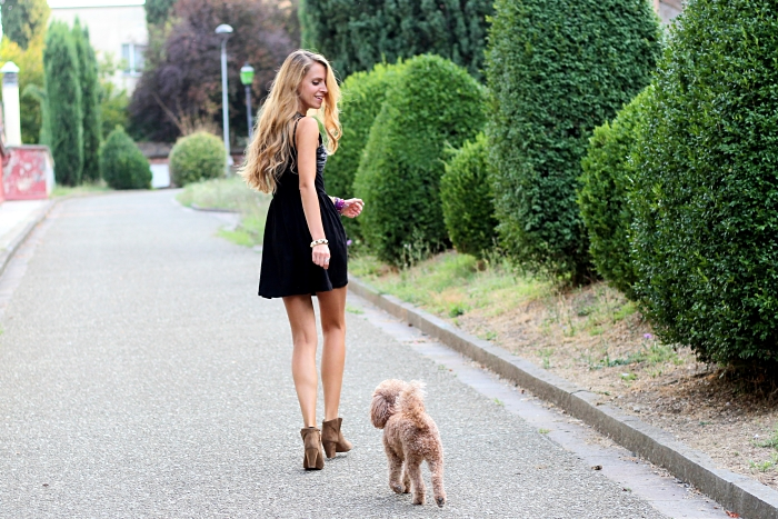 outfit, black dress, Zara boots