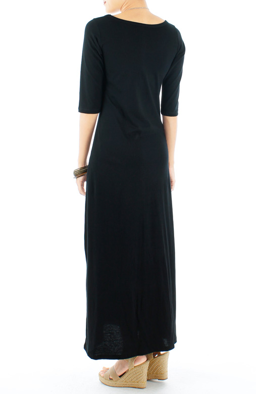 Cotton Maxi Dress with Half Sleeves in Black