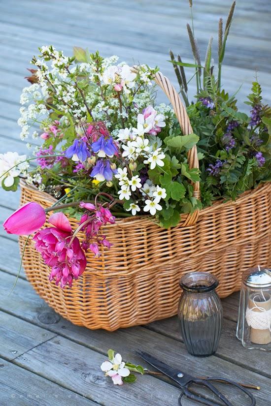 flowers basket, korg blommor, bouquet garden sprin, bukett trädgård vår, vårbuketter, spring bouquet, mandelblomma, meadow saxifrage, colourful bouquet, färgstarkbukett, bouquet apple blossom, bukett äppelblomm