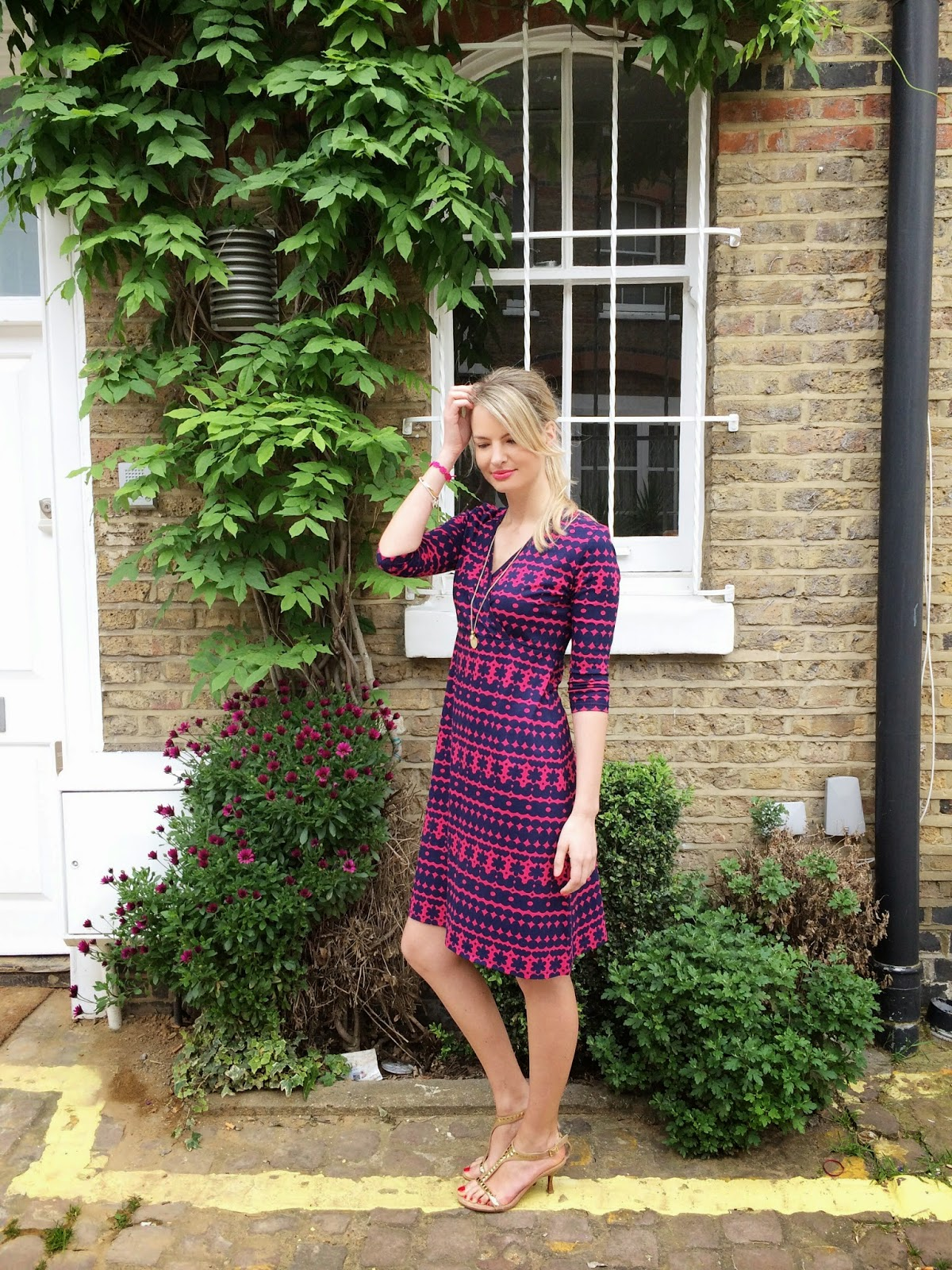 house of fraser, wrap dress, purple dress, pink dress, london, street style, fashion blogger, wrap dress with long sleeves, monica vinader, monica vinader necklace, russell and bromley sandals, nude sandels, tan sandels, dress, summer dress, look book june, look book june 2014, chrissabella