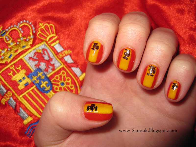Sandras nails not active anymore viva espaa for the finale and i did the spanish flag nails so here it is prinsesfo Gallery