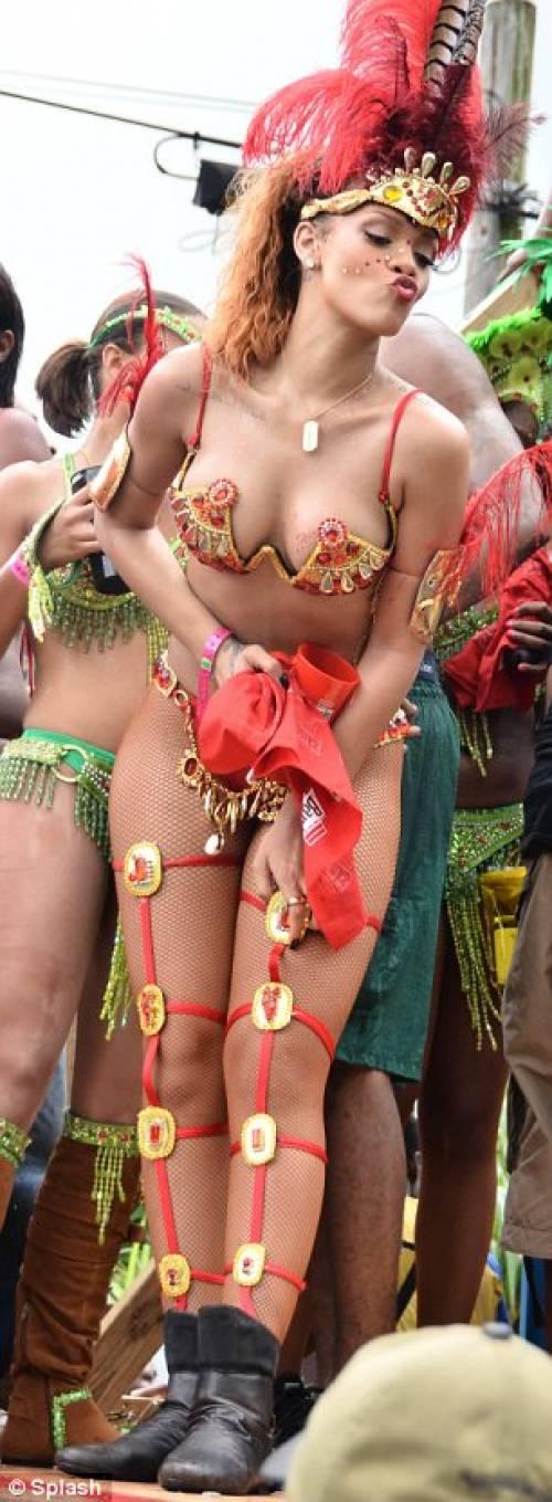 Looks like she had a good time… Rihanna's carnival style.