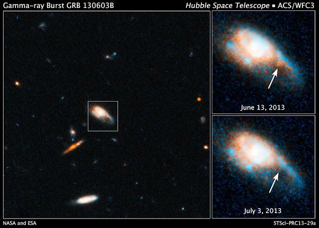 Hình ảnh bên trái cho ta thấy thiên hà đang tạo ra những vụ nổ tia gamma và được gọi tên là GRB 130603B. Thiên hà này nằm cách chúng ta 4 tỷ năm ánh sáng. Một hình ảnh khác của kính Hubble về thiên hà này vào ngày 13/6 vừa qua cho thấy nhiều nguồn sáng rực rỡ khi kính nhìn qua bước sóng hồng ngoại về khu vực xảy ra các vụ nổ tia gamma - hình ảnh ở trên bên phải. Rồi khi kính Hubble quan sát nó vào ngày 3/7 vừa rồi thì các nguồn sáng đã bị mờ, đây là bằng chứng cho rằng những quả cầu lửa (fireball) đang bị tiêu diệt bởi những vụ nổ sao gọi là kilonova. Bản quyền hình ảnh : NASA, ESA, N. Tanvir (Trường Đại học Leicester), A. Fruchter (STScI), và A. Levan (Trường Đại học Warwick).