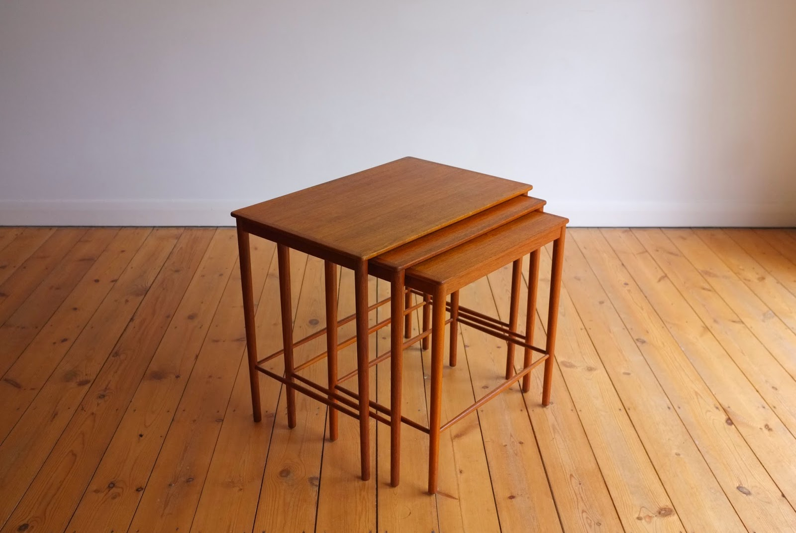 Three Part Teak Nesting Table Set Designed By Grete Jalk For Poul Jeppesen  Mobelfabrik, Denmark C1950 (W57xD37xH50cm) Finely Shaped Delicate Stretchers