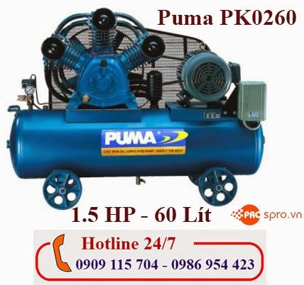 Máy nén khí piston 1/2HP 1 cấp Puma PK0260  Bình chứa 60L