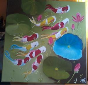 Quadro a óleo pintado pela minha filhota - Carpas