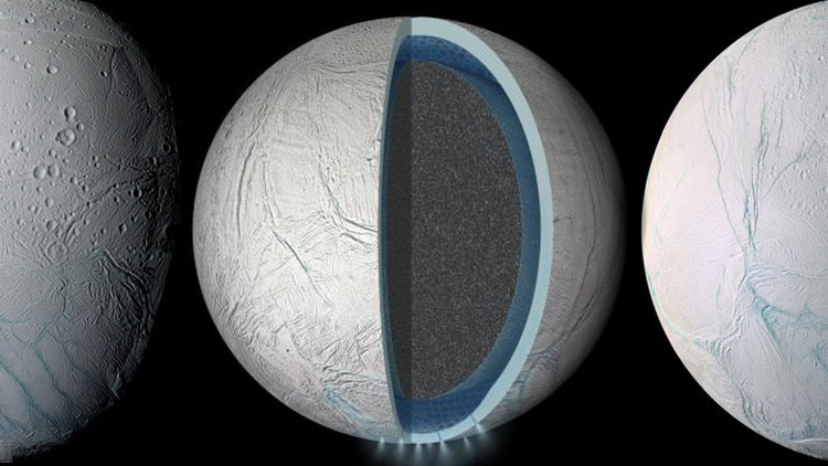 Océano global en la luna Encélado de Saturno.