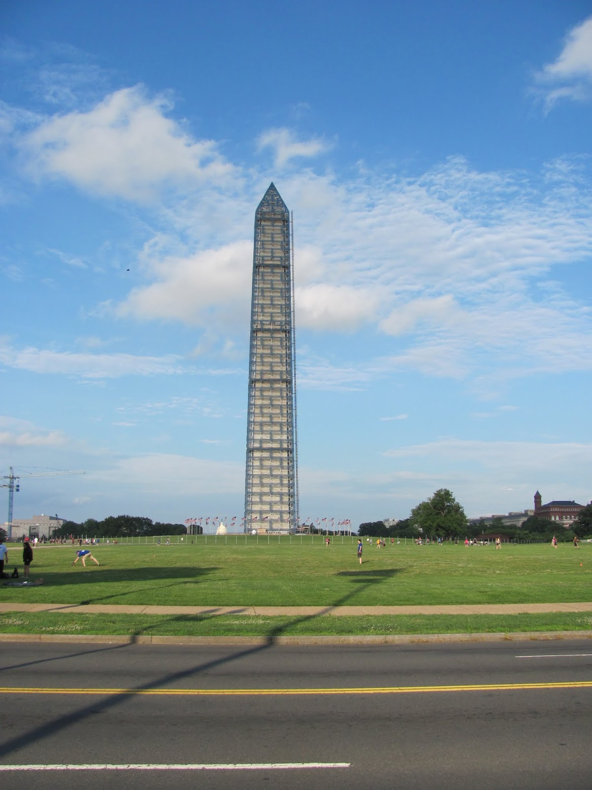 The Washington Monument is pictured covered with repair scaffolding in Washington, DC