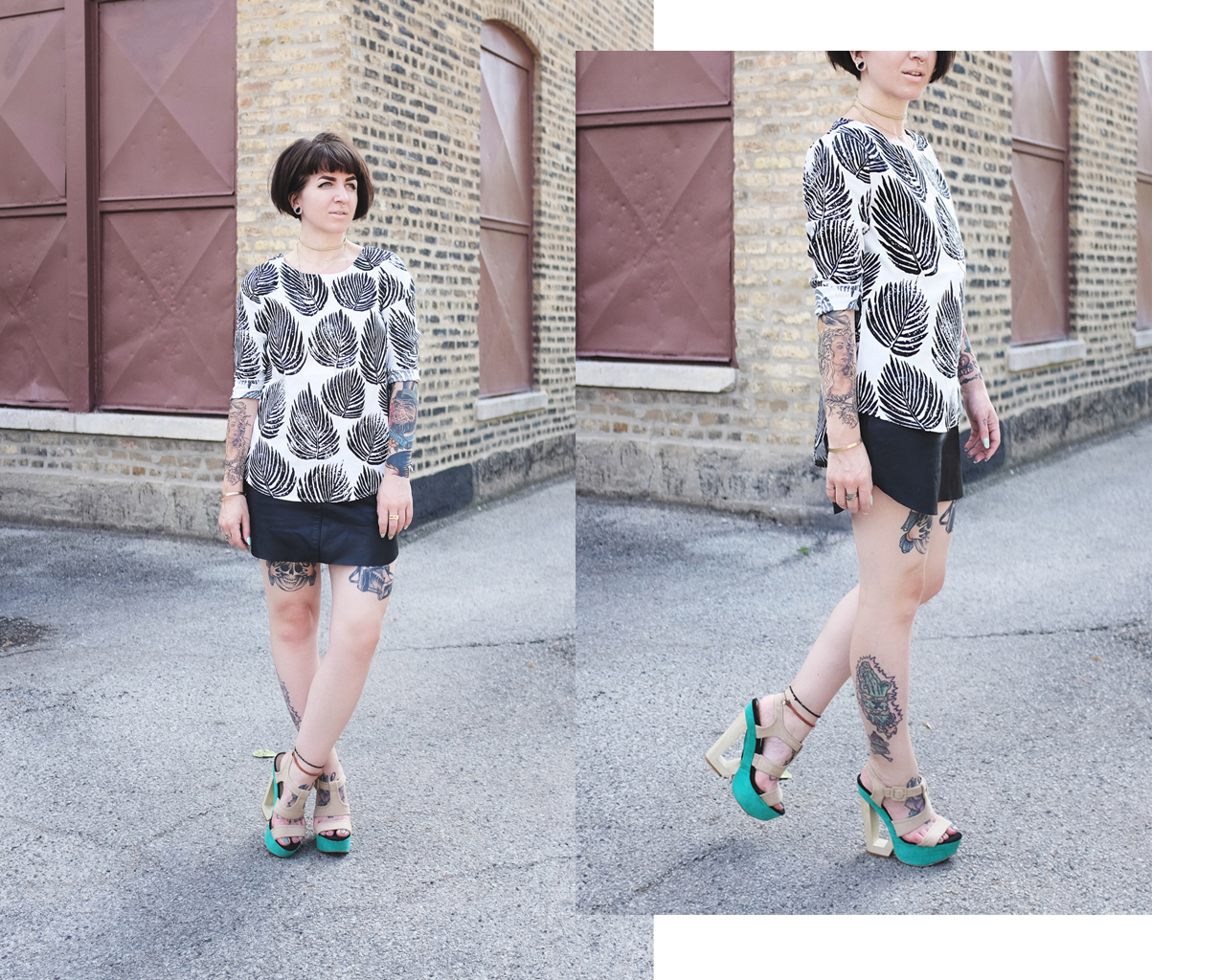 Minimal Black and White Palm Printed Blouse with Leather Skirt and Wedges