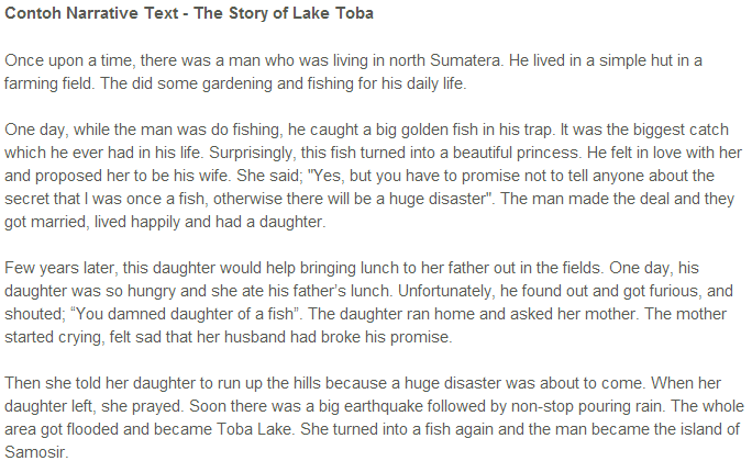 Narrative Texts Lake Of Toba