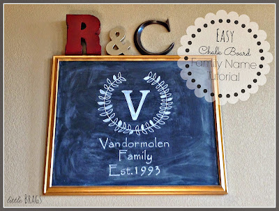 diy chalkboard monogram tutorial