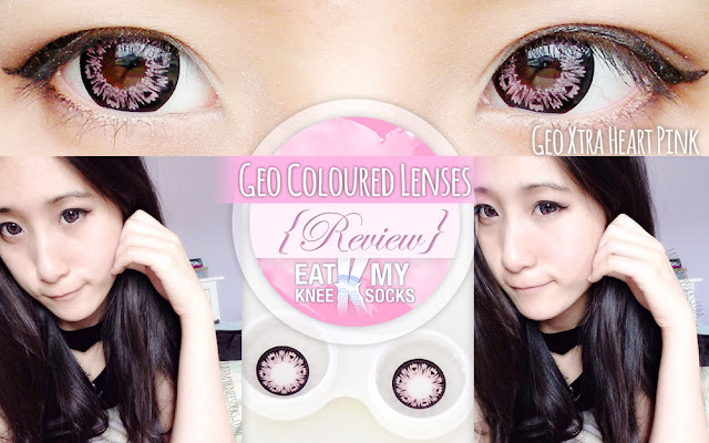The Eat My Knee Socks/Mimchikimchi review of the Geo Xtra Heart Pink circle lenses from Geo Coloured Lenses.