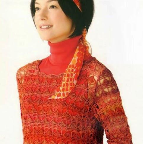 Blusa Naranja a Crochet o Ganchillo