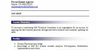 Sap Abap Fresher Resume Sample Professional Resume Templates