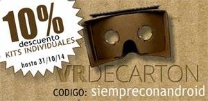 Consigue un 10% de descuento al comprar un Kit de montaje de Google Cardboard.