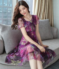 2017 4-Color Short Sleeve Floral Chiffon Knee Length Dress