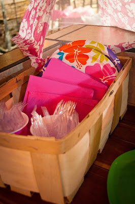Focus on Pink when using Luau Party Decorations for a Baby Shower - True Blue Style Event Planning