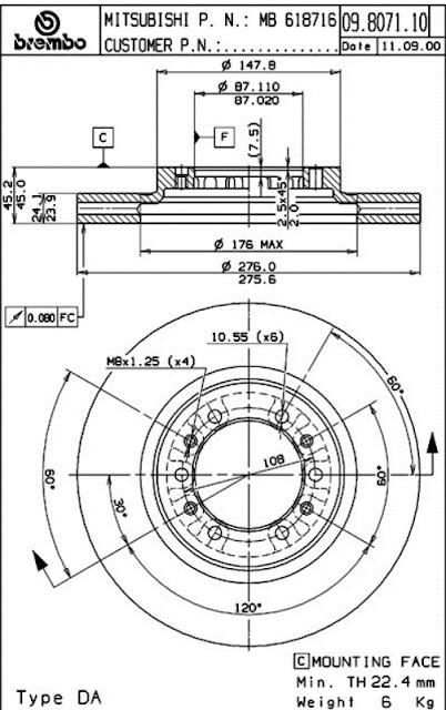 Brake Disc Mitsubishi  L200 2.5 TD 4x4, PAJERO, PAJERO SPORT (09.8071.10)