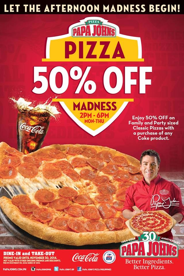 Papa Johns Promo Codes 50 off the Entire Meal, Papa Johns Labor Day Promo Code, 50 Off Papajohns Coupons, Papa Johns Online, 40 Off Pizza Papa Johns Deals for all users. Just Read this article and you will enjoy your shopping at Papa John's.
