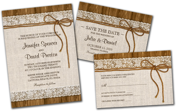 Wedding Cards and Gifts Rustic Burlap Lace Wedding Reception – Country Theme Wedding Invitations