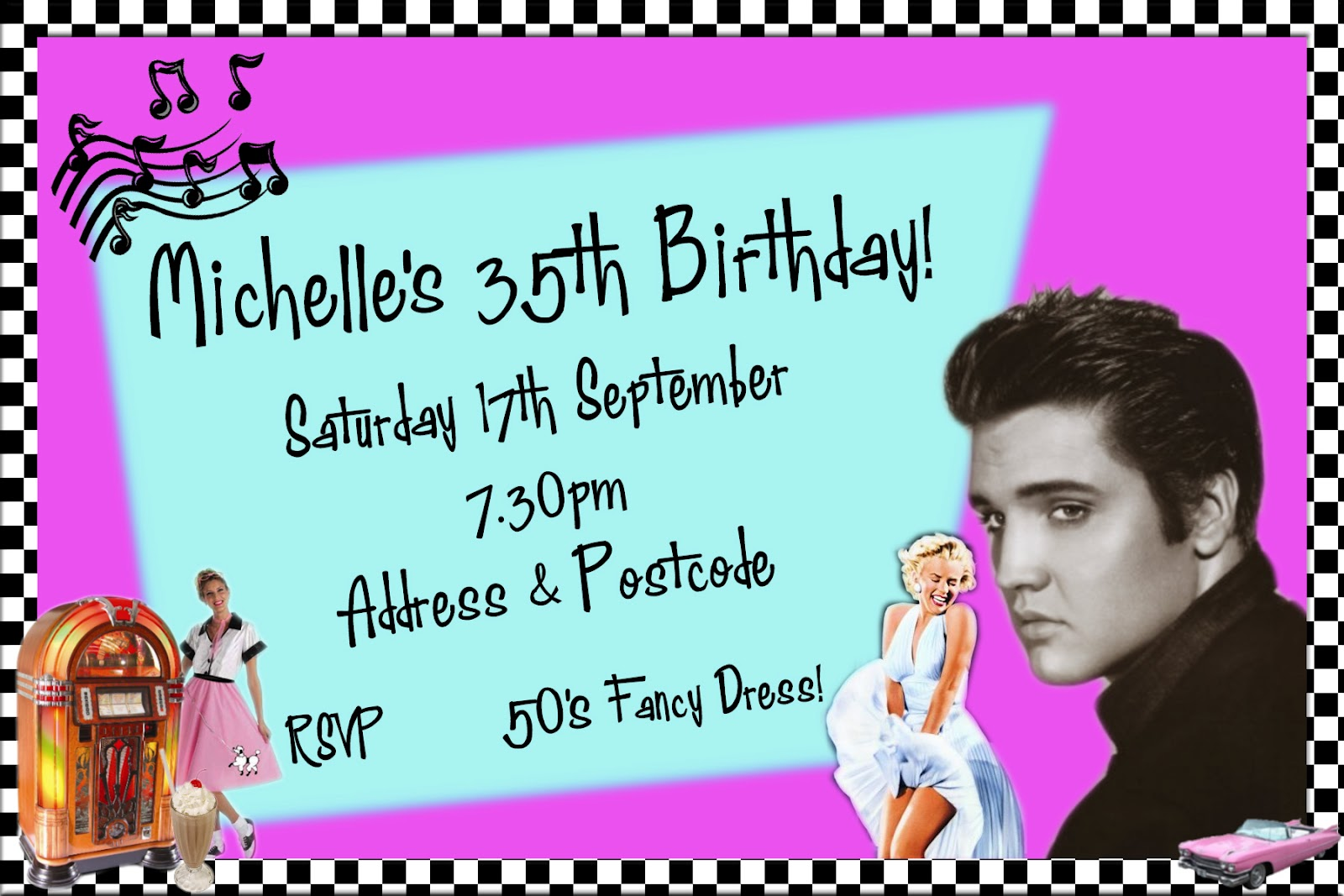 1950s Birthday Party Theme 1950s Themed Party Invitation