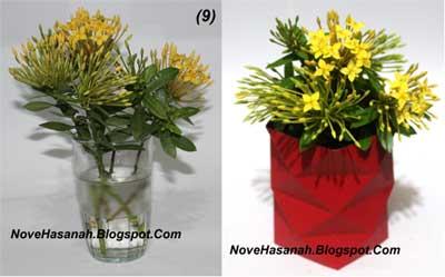 Contoh Kerajinan Tangan dari Kertas : Mempercantik Vas Bunga dari Gelas 9