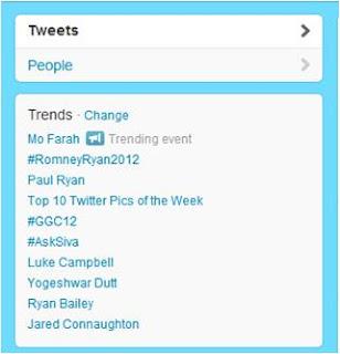 Twitter Trending event Mo Farah Olympics