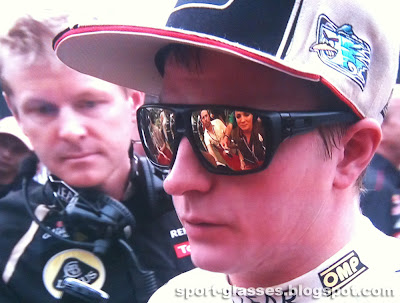 Kimi Raikkonen wearing Black Oakley Dispatch sunglasses during the 2013 F1 pre-season