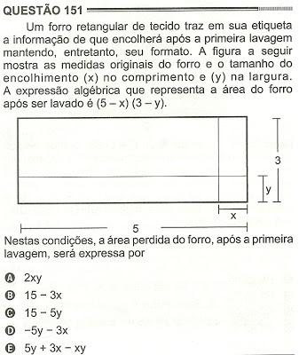 Exercício Resolvido Enem 2012 - Questão 151 (caderno amarelo - 2º dia)