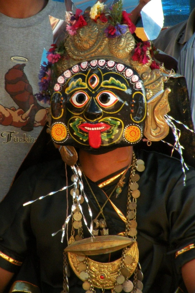 Masked dancer in Nepal, Sankhu