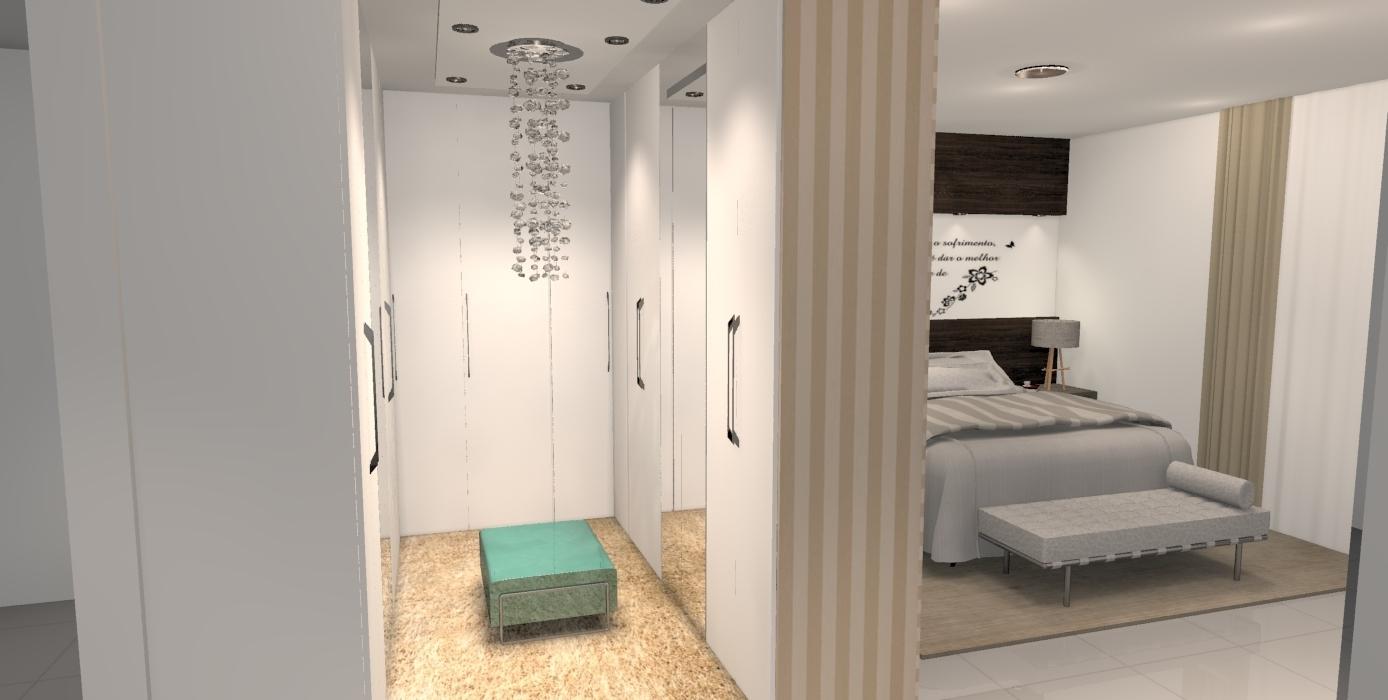 Construindo Minha Casa Clean 20 Quartos com Closet  Veja Dicas e Ideias! -> Closet Pequeno Com Banheiro