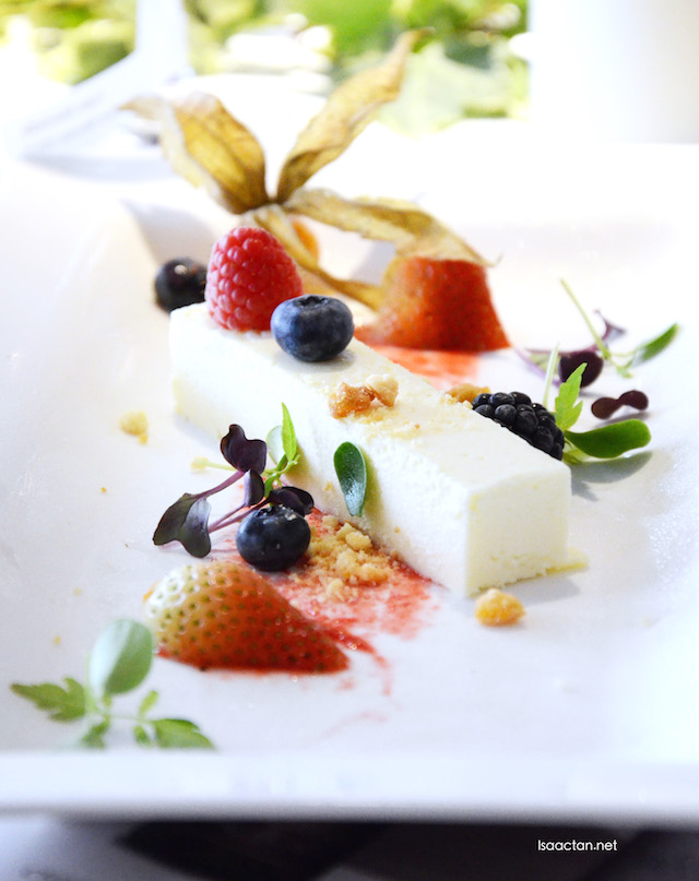 White Chocolate Mousse with Mixed Berries and Crumble with Raspberry sauce