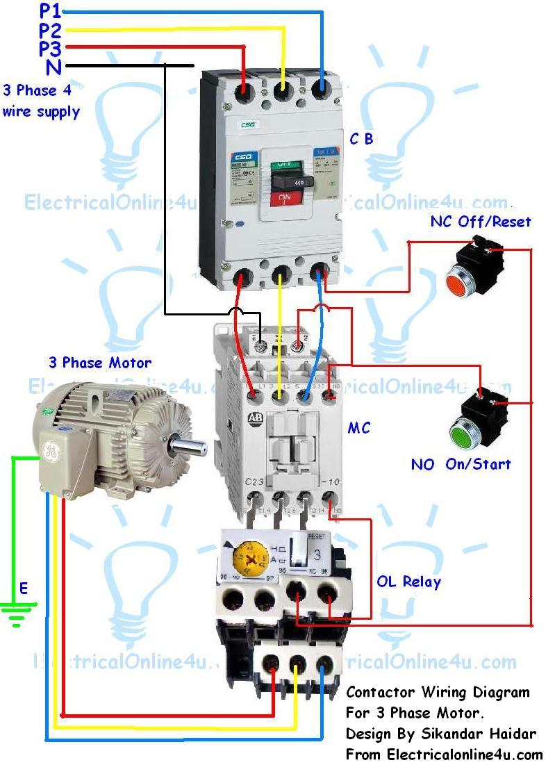 Wiring Diagram For A 3 Phase Motor Starter : Contactor wiring guide for phase motor with circuit