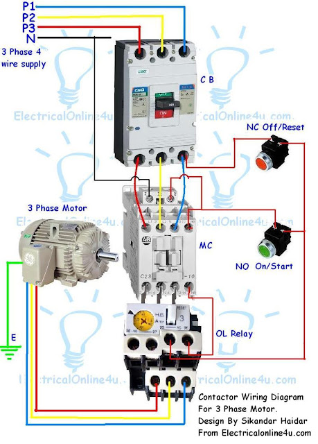 Contactor Wiring Guide For 3 Phase Motor With Circuit Breaker  Overload Relay  Nc No Switches
