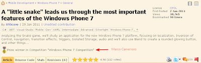 screenshot della pagina del contest