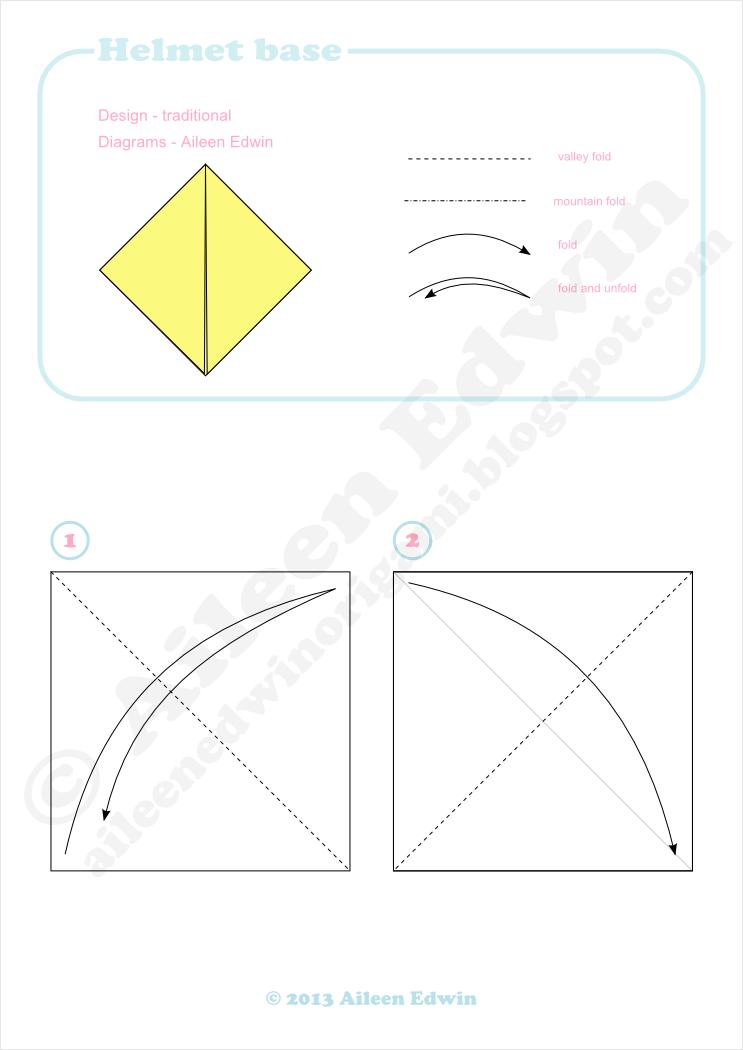 Origami helmet base diagrams