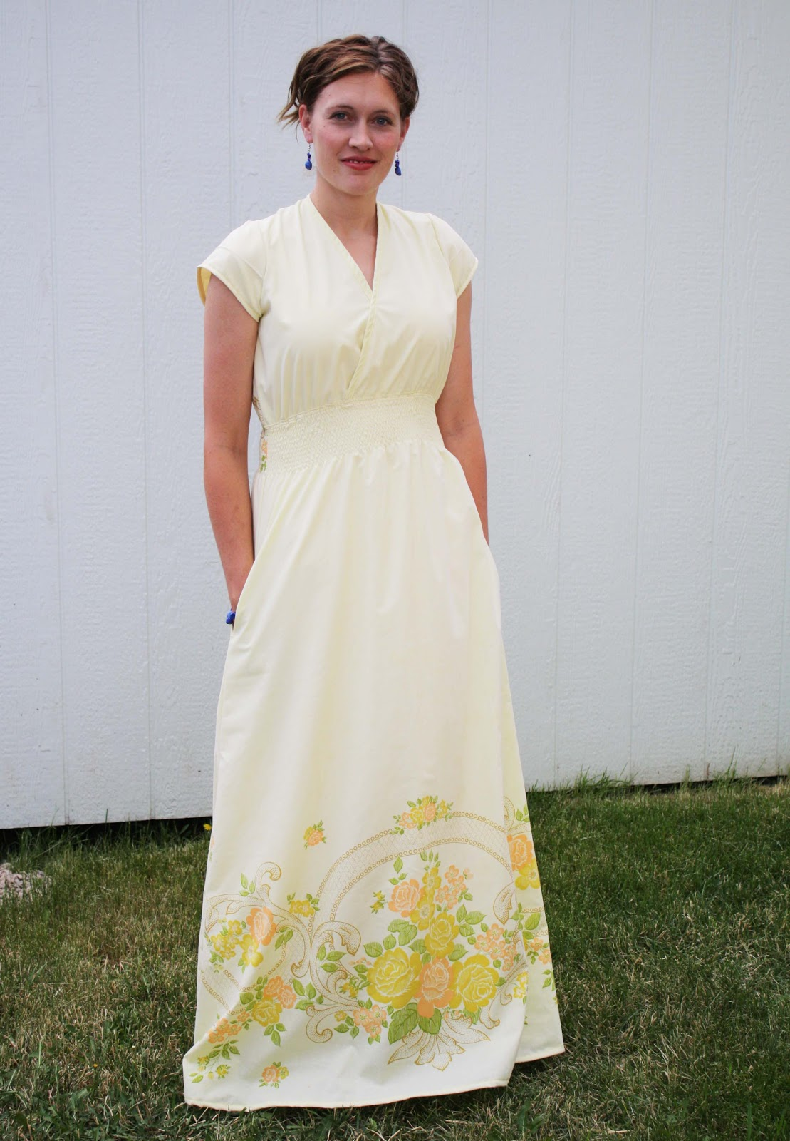 Ten maxi dress patterns and tutorials heather handmade yellow maxi dress from vintage sheet pattern and tutorial ombrellifo Image collections
