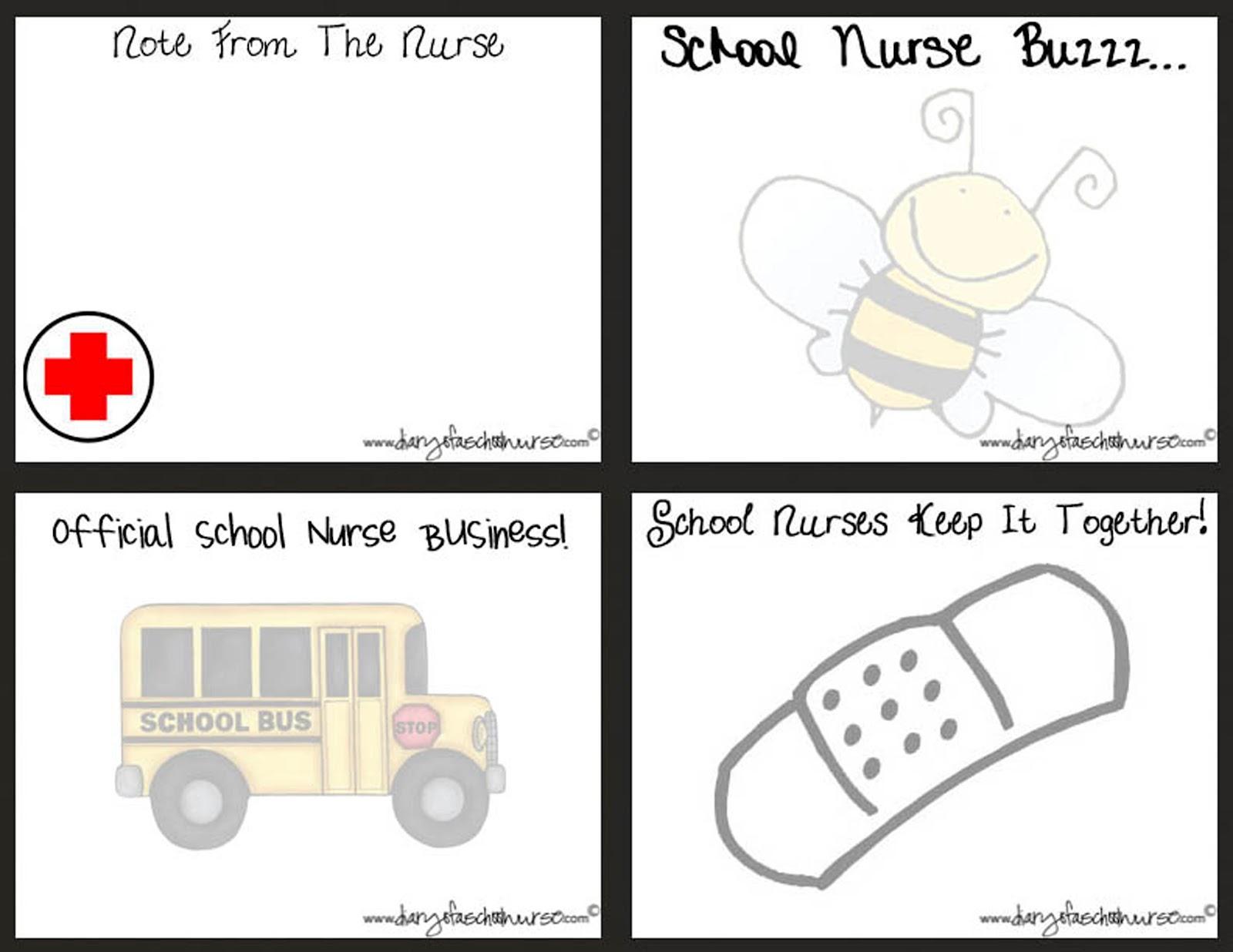 School nurse note cards