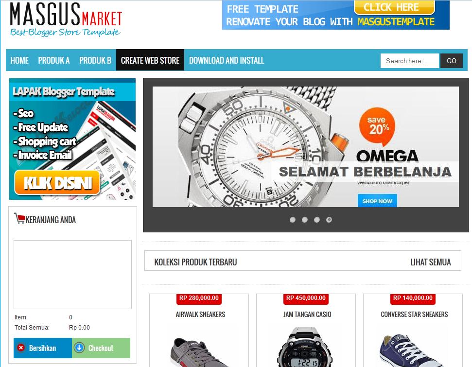 Templates Masgus Market Ecommerce Responsive Blogger Template