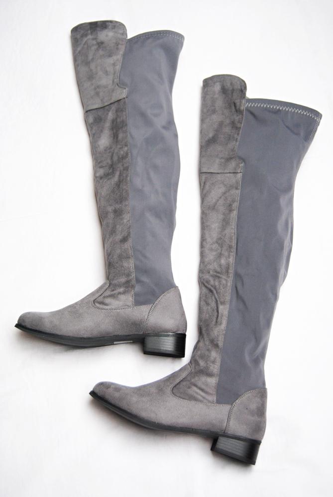 flat grey overknees wide shaft big legs