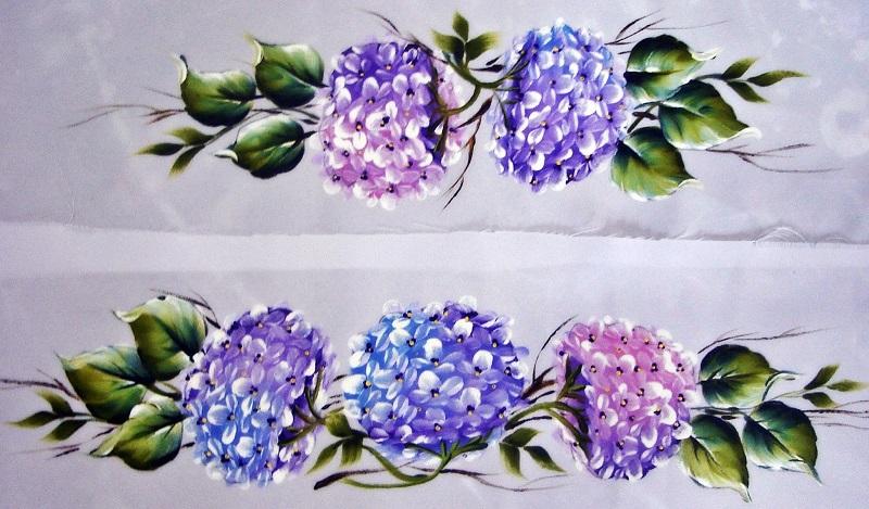 pintura em tecido flores jogo de banho