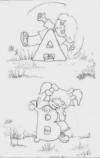desenho de alfabeto das crianças A e B