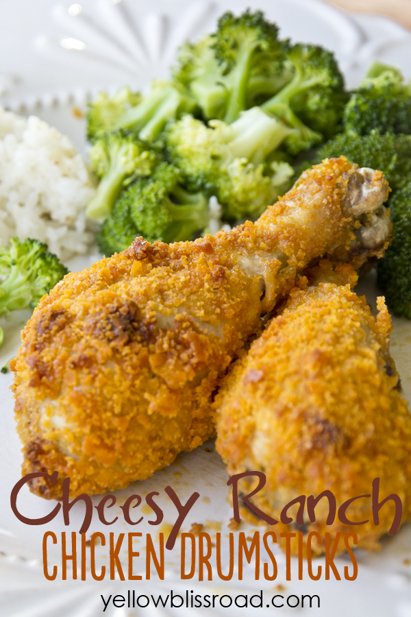 Cheesy Ranch Chicken Drumsticks - Just two additional ingredients made this chicken recipe a sure kid pleaser!