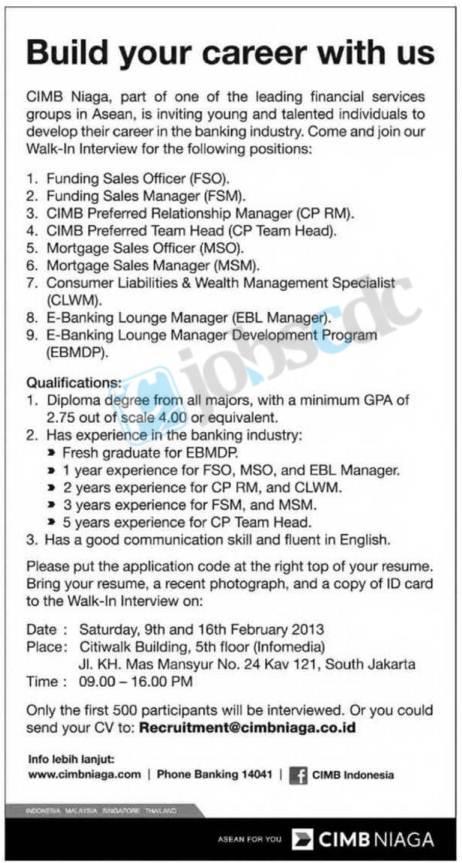 Info penerimaan PT Bank CIMB Niaga Tbk Februari 2013 - Lowongan Kerja
